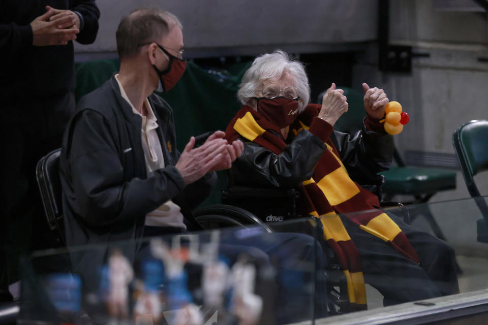 Sister Jean celebrates the Loyola-Chicago Ramblers win over the Illinois Fighting Illini in the 2021 NCAA Tournament