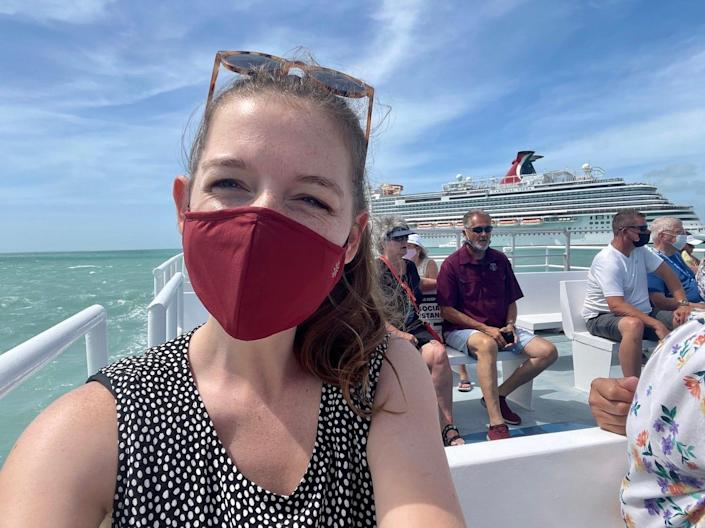 While taking a ferry to the Belize's port, passengers were expected to mask up.