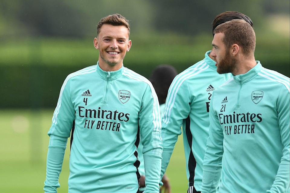 New Arsenal signing Ben White in training (Arsenal FC via Getty Images)