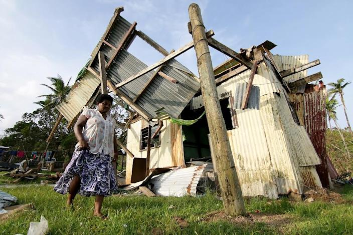 Super Cyclone Winston lashed Fiji in February 2016, with gusts of 325 kilometres an hour, destroying 32,000 houses, 500 schools and 88 health facilities (AFP Photo/Steven Saphore)