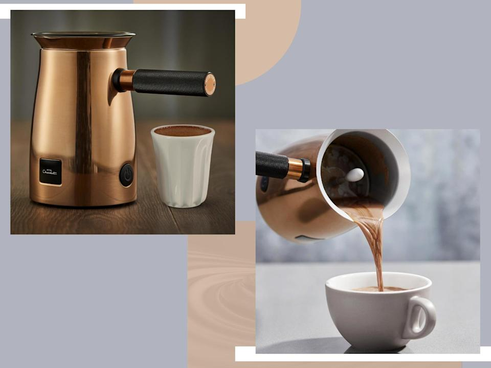 The gadget heats and whisks the milk and hot chocolate together to create a silky smooth mixture and frothy top (iStock/The Independent)