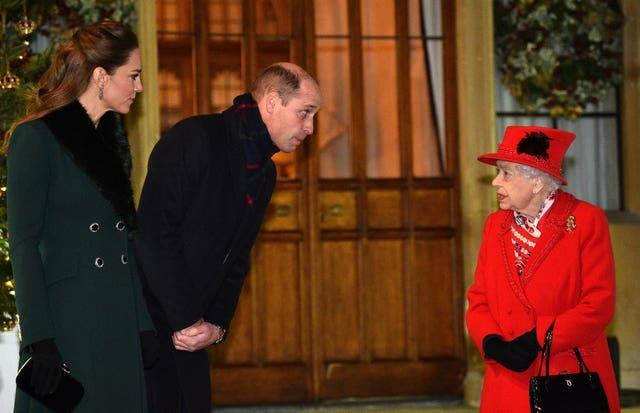 William and Kate ended their royal train tour at Windsor where they met the Queen. Glyn Kirk/PA Wire