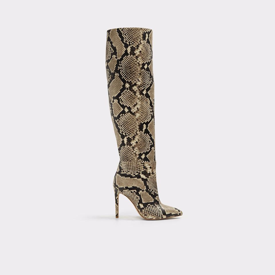 "<p>It's all about the snake print this season — in fact, it's the new leopard. You will love our favorite new neutral — it goes with absolutely everything in your closet. Get the look of Emily Ratajkowski's pricy boots for a whole lot less with this Aldo version.<br /><a rel=""nofollow"" href=""https://fave.co/2Ruj5sO""><strong>Shop it:</strong> </a>$150 (was $200), <a rel=""nofollow"" href=""https://fave.co/2Ruj5sO"">aldoshoes.com</a> </p>"
