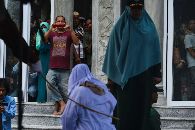 Public floggings are common in Aceh for offences such as adultery, gambling and drug use (AFP Photo/CHAIDEER MAHYUDDIN)