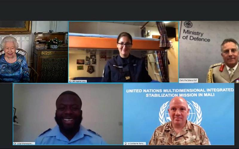 The Queen speaking via videocall to, top row, AB Sophie Levy and Gen Sir Nicholas Carter and, bottom row, L/Cpl Shanwayne Stephens and Lt Col Barrie Terry - PA