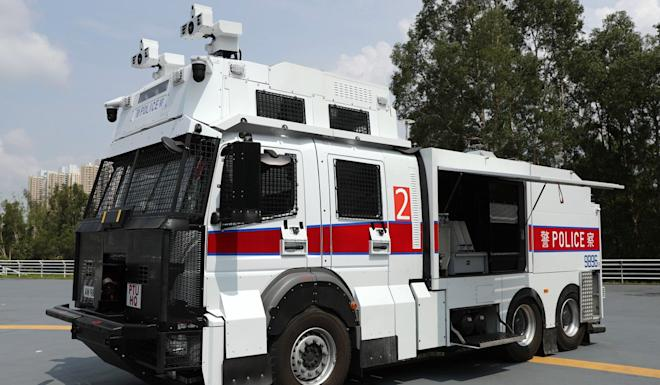 The Hong Kong Police Force has taken delivery of three French-built water cannon vehicles. Photo: Sam Tsang