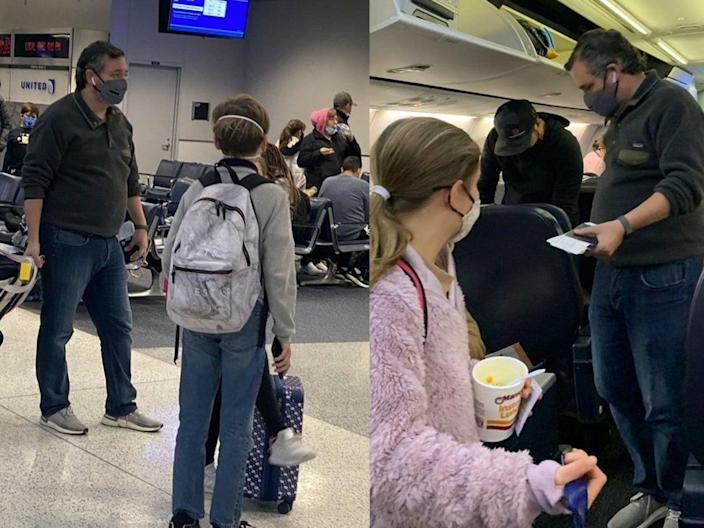 <p>Viral photographs appeared to show Senator Ted Cruz (R-TX) traveling to Cancun, Mexico as his home state of Texas faced a historic winter storm.</p> (Twitter)