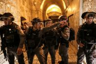 Israeli police officers patrol during tension with Palestinians inside Jerusalem's Old City, as the Muslim holy fasting month of Ramadan continues, in Jerusalem