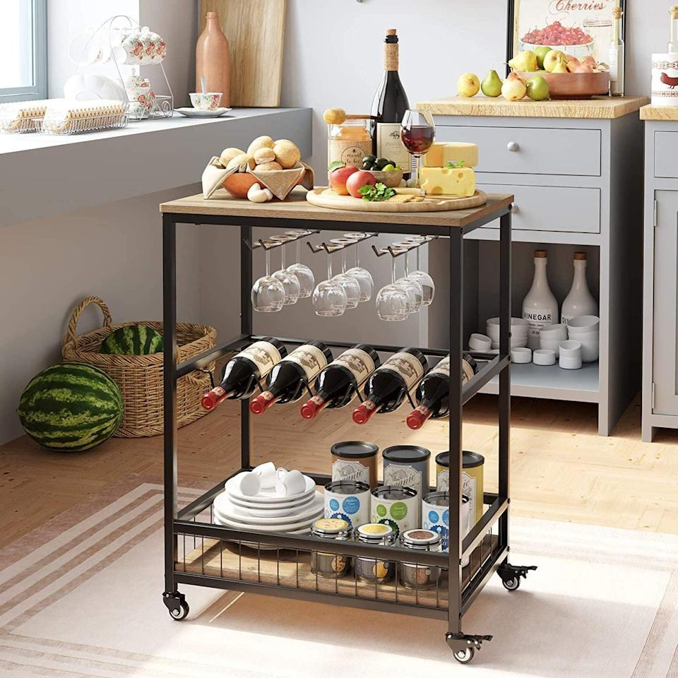 <p>The <span>Homecho Wine Bar Cart - Rustic Brown</span> ($76) is perfect for entertaining.</p>