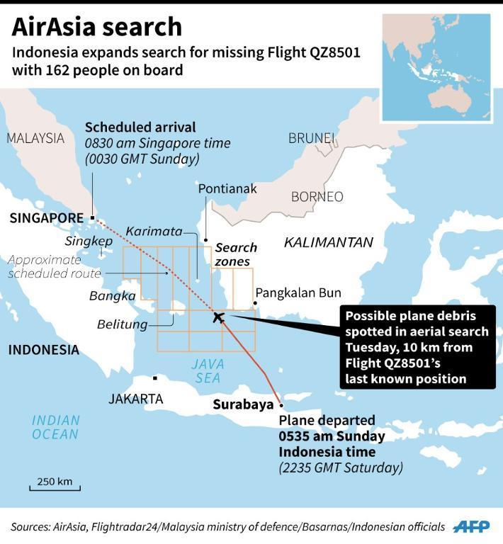 Search zones for the missing AirAsia Flight QZ8501