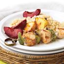 "<p>Take a mini vacation around the globe! The Caribbean flavor of rum, the Asian flavor of lemongrass, and the pineapple and brown sugar twist so loved in the South Seas all blend together to make these delicious turkey kebab appetizers. Make it a meal by serving with hot cooked rice and some steamed vegetables. <a href=""http://www.eatingwell.com/recipe/272172/pineapple-turkey-kebabs/"" rel=""nofollow noopener"" target=""_blank"" data-ylk=""slk:View recipe"" class=""link rapid-noclick-resp""> View recipe </a></p>"