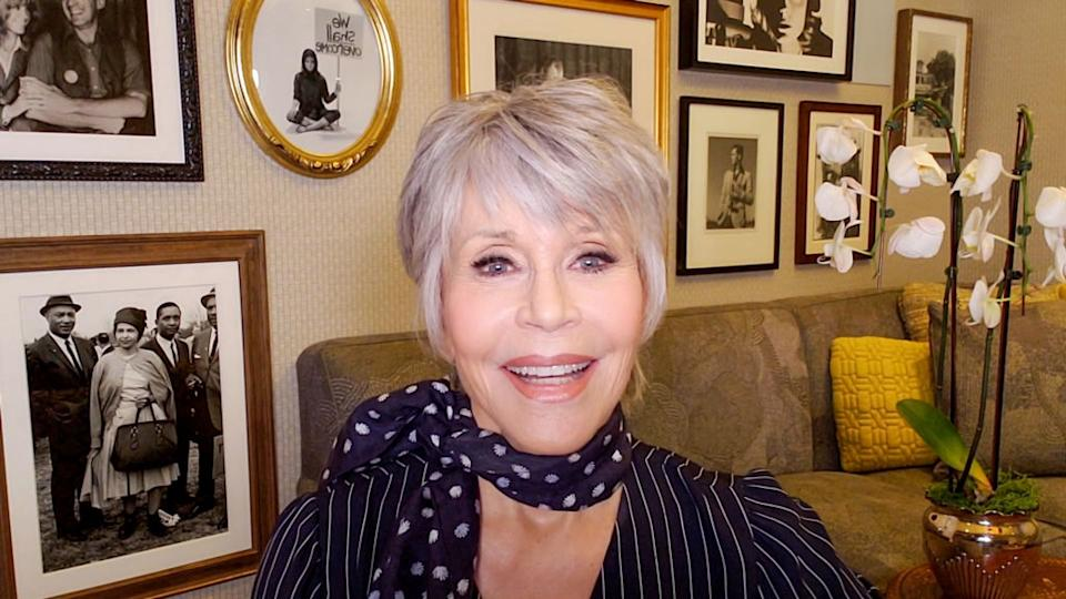 Jane Fonda has revealed she is embracing her grey hair, pictured in October 2020. (Getty Images)