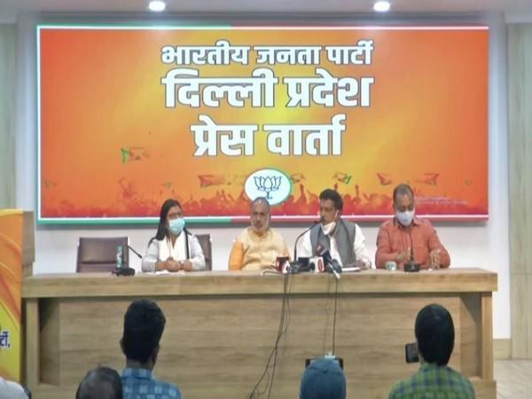 Visuals from the press conference held on Tuesday. Photo/ANI