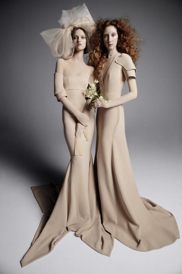<p>Simple, elegant tan gowns. (Photo: Inez & Vinoodh) </p>
