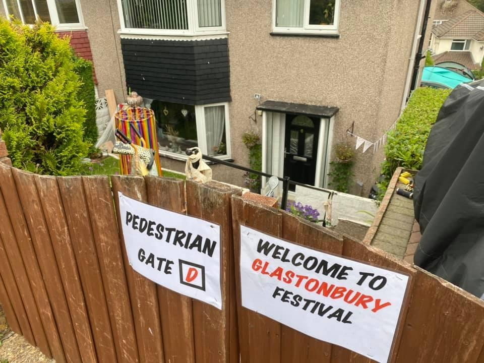 A sign welcoming visitors to Linsey and Robin Thomas' homemade Glastonbury festival (Linsey Thomas/PA)