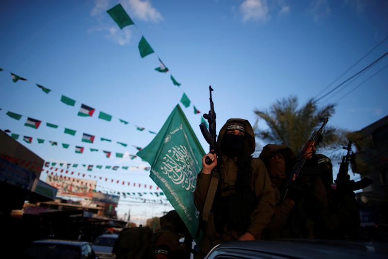 Hamas militants participate in a protest on Dec. 7, 2017 against U.S. President Donald Trump's decision to recognize Jerusalem as the capital of Israel.