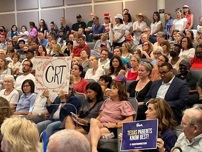 Anti-CRT protesters helped pack the Fort Worth Independent School District Board of Education meeting on June 22. In total, 86 people spoke at the meeting, including 48 anti-CRT or anti-equity speakers.