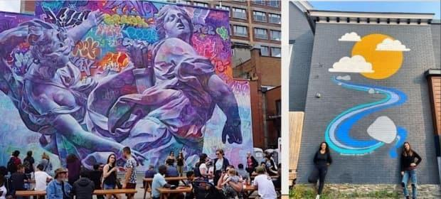 """The Fredericton arts advisory committee contrasted these images in its presentation to city council under the heading: """"They need to be conceived and undertaken by a professional muralist (who understands scale, perspective and composition)."""""""