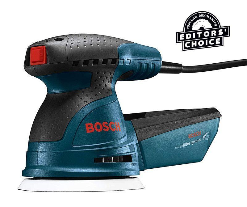 """<p><strong>BOSCH</strong></p><p>amazon.com</p><p><strong>$69.00</strong></p><p><a href=""""https://www.amazon.com/dp/B00BD5G9VA?tag=syn-yahoo-20&ascsubtag=%5Bartid%7C10060.g.26626730%5Bsrc%7Cyahoo-us"""" rel=""""nofollow noopener"""" target=""""_blank"""" data-ylk=""""slk:Buy Now"""" class=""""link rapid-noclick-resp"""">Buy Now</a></p><p><strong>Weight: </strong>3.5 lb. </p><p>The Bosch is comfortable, sands fast, and has the best dust collection of the corded sanders we tested. Because its dust control is so good (owing to a rubber O-ring seal on the dust port, good airflow, and an airtight dust canister), less dust stays on the surface to get ground into the abrasive pad. That means the pad stays cleaner and lasts longer. Its speed control dial is behind the handle; you can get at it easily, but it's possible to accidentally move it out of position. The sanded surface it left is very nice—a hair less smooth than the Milwaukee's but still of a professional quality.<br></p>"""