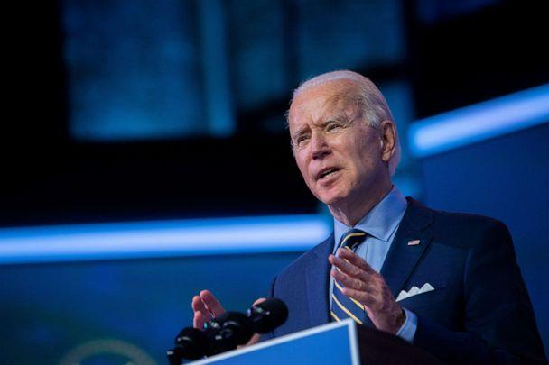 PHOTO: President-elect Joe Biden delivers remarks at the Queen Theater, Dec. 28, 2020, in Wilmington, Del. (Mark Makela/Getty Images)