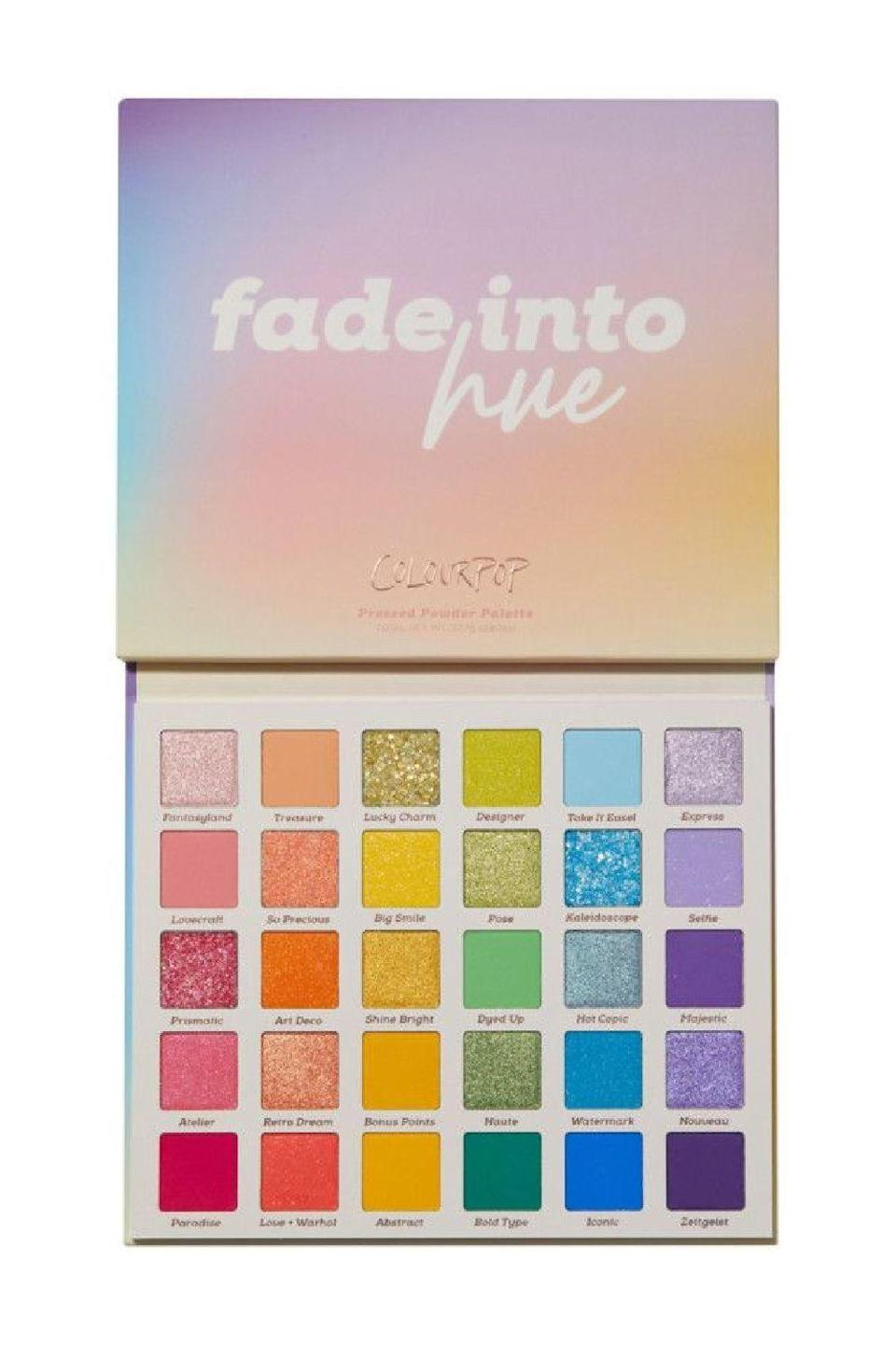 """<p><strong>ColourPop</strong></p><p>ulta.com</p><p><strong>$34.00</strong></p><p><a href=""""https://go.redirectingat.com?id=74968X1596630&url=https%3A%2F%2Fwww.ulta.com%2Fp%2Ffade-into-hue-eyeshadow-palette-pimprod2024493&sref=https%3A%2F%2Fwww.cosmopolitan.com%2Fstyle-beauty%2Fbeauty%2Fg36596599%2Fbest-eyeshadow-palettes%2F"""" rel=""""nofollow noopener"""" target=""""_blank"""" data-ylk=""""slk:Shop Now"""" class=""""link rapid-noclick-resp"""">Shop Now</a></p><p>Looking for something simple, subdued, soft, and natural? Scroll on, friend, because this ain't it. All you makeup devotees totally bored by <a href=""""https://www.cosmopolitan.com/style-beauty/beauty/g28864766/nude-eyeshadow-palette/"""" rel=""""nofollow noopener"""" target=""""_blank"""" data-ylk=""""slk:nude eyeshadow palettes"""" class=""""link rapid-noclick-resp"""">nude eyeshadow palettes</a> need this bright, bold eyeshadow palette that comes with <strong>a mix of</strong><strong> pastels in matte, metallic, glitter, and matte sparkle finishes</strong>. Colourpop is known for its good-quality eyeshadows at equally impressive prices, and for just over 30 bucks, you get 30 shades with this eyeshadow palette to create any <a href=""""https://www.cosmopolitan.com/style-beauty/beauty/a35279355/best-of-rainbow-eye-looks-cosmo-queens/"""" rel=""""nofollow noopener"""" target=""""_blank"""" data-ylk=""""slk:rainbow eye look"""" class=""""link rapid-noclick-resp"""">rainbow eye look</a>.</p>"""