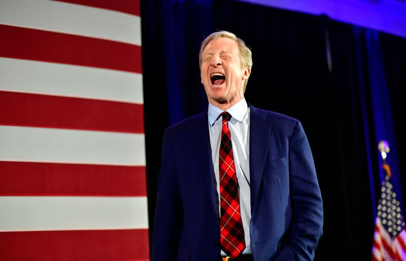 Democratic Presidential candidate Tom Steyer speaks to supporters as he announced that he is suspending his campaign at his election night party on the day of the South Carolina primary in Columbia, South Carolina, U.S.