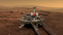 FILE - This artist's rendering provided to China's Xinhua News Agency on Aug. 23, 2016, by the lunar probe and space project center of Chinese State Administration of Science, Technology and Industry for National Defense, shows a concept design for the Chinese Mars 2020 rover and lander. China's landing of its third probe on the moon is part of an increasingly ambitious space program that has a robot rover en route to Mars, is developing a reusable space plane and plans to put humans back on the lunar surface. (Chinese State Administration of Science, Technology, and Industry for National Defense via Xinhua via AP, File)