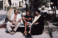 <p>Producer Albert R. Broccoli, English actor Roger Moore and producer and screenwriter Michael G. Wilson on the set of 'For Your Eyes Only', 1981. Wilson is in costume for his customary bit-part, this time as a Greek Orthodox priest. </p>