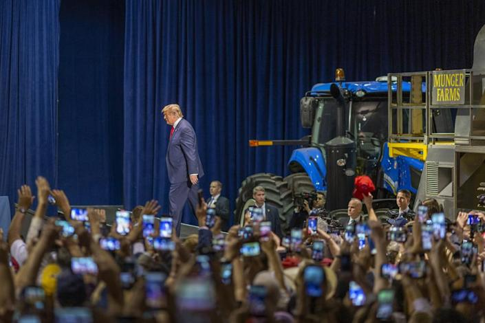 U.S. President Donald Trump arrives to a legislation signing rally with local farmers on February 19, 2020 in Bakersfield, California. The presidential signing ushers in his administration's new rules altering how federal authorities decide who gets water and how much in California, sending more water to farmers despite predictions that the changes will further threaten endangered species in the fragile San Joaquin Delta.