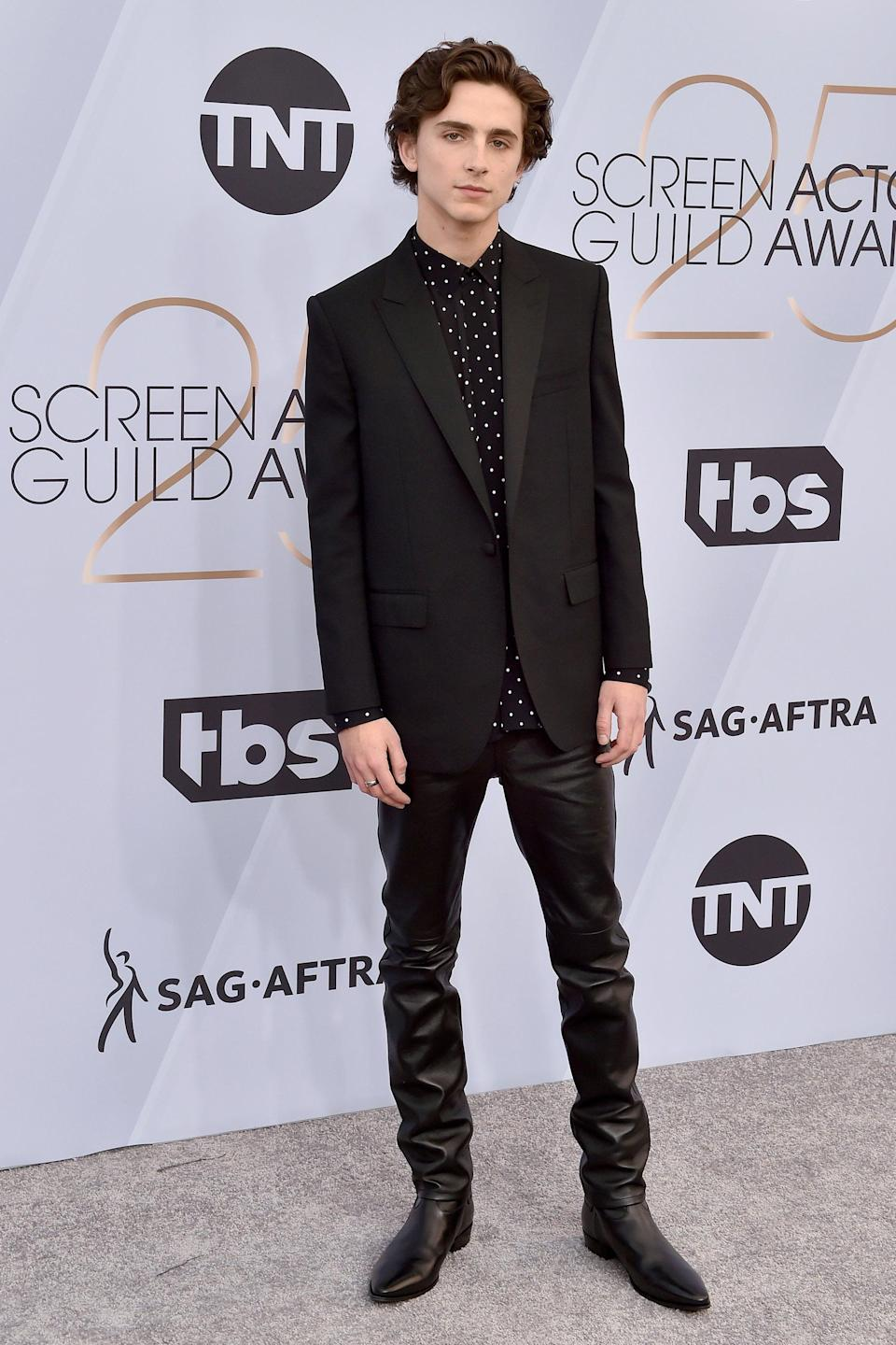 "<h2>Celine</h2>Of course Hedi Slimane put Timothée Chalamet in leather pants for the SAG Awards. <span class=""copyright"">Photo: Axelle/Bauer-Griffin/FilmMagic.</span>"