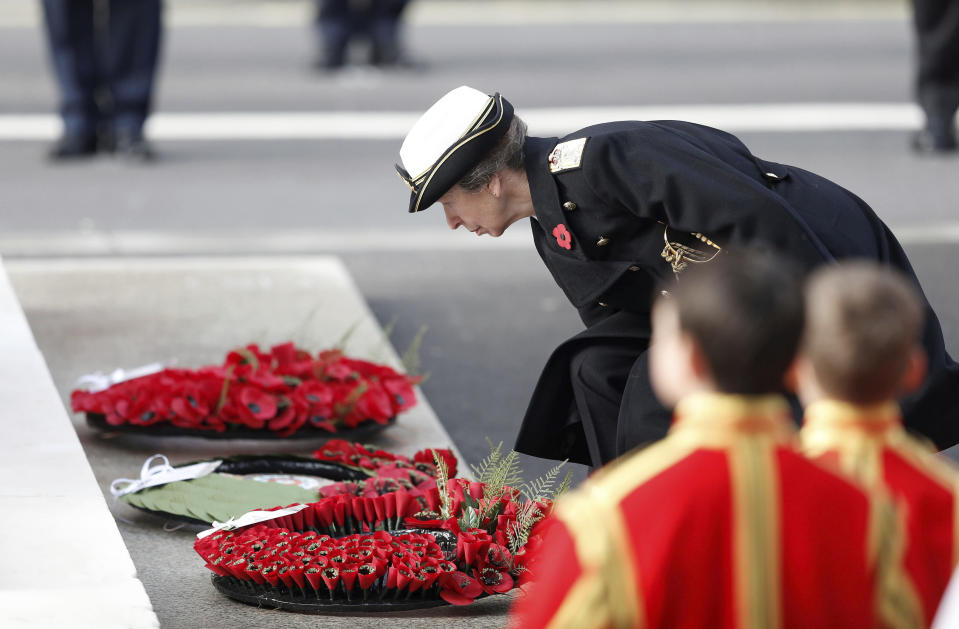 Britain's Princess Anne lays a wreath, during the Remembrance Sunday service at the Cenotaph, in Whitehall, London, Sunday Nov. 8, 2020. (Peter Nicholls/Pool Photo via AP)
