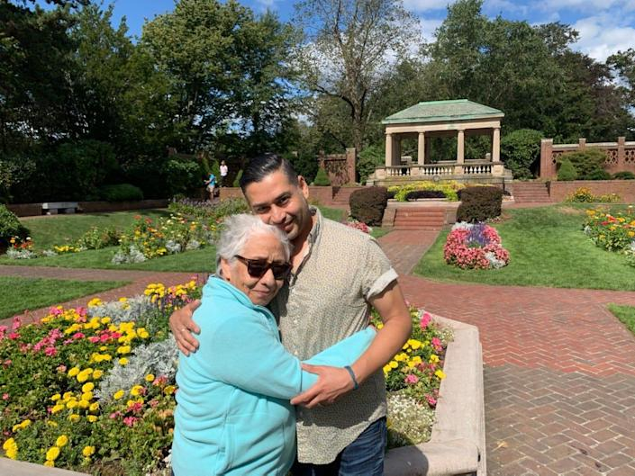 Juanita Lopez hugs her son, Juan Lopez, in 2019, the last time he saw her before the pandemic struck. She passed away in April 2020.