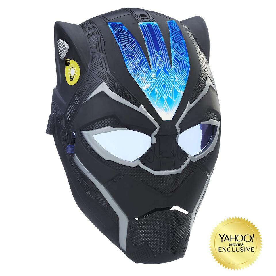 "<p>""Imagine suiting up for battle as Black Panther with Vibranium-powered combat gear! This new mask, inspired by the movie, features a flip-down lens for two ways to play. Press the button on the side of the mask once for a pulsating light or twice for a fixed light effect."" $19.99 (Photo: Hasbro) </p>"