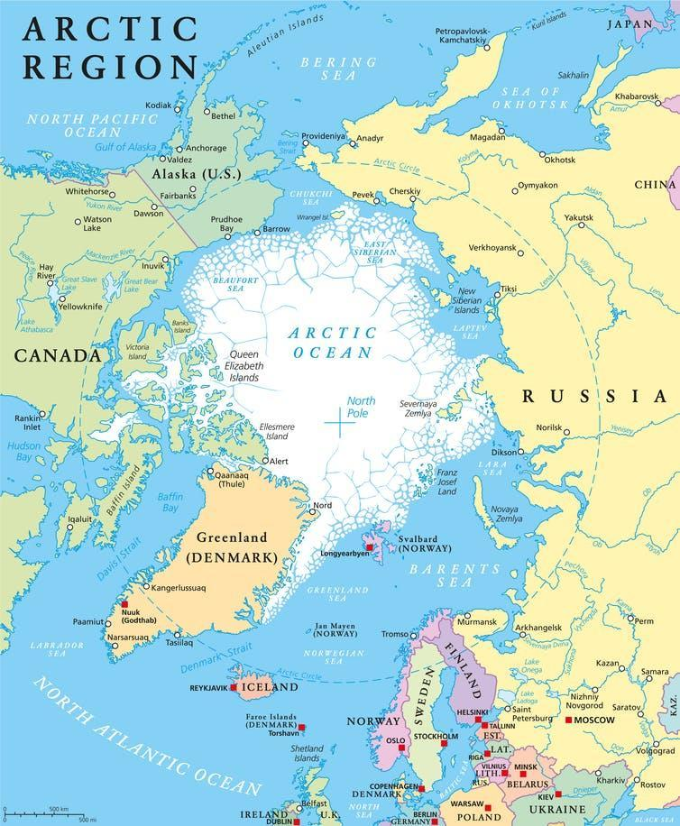 A map of the Arctic region.
