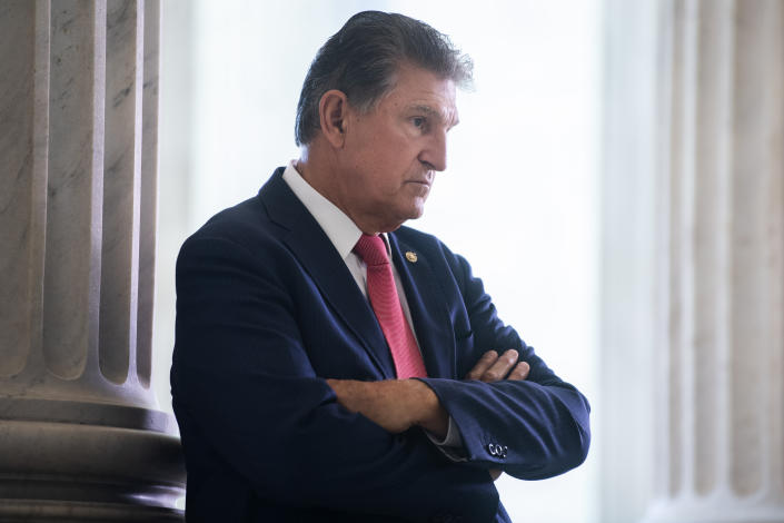 Sen. Joe Manchin, D-W. Va., is seen in Russell Building on Thursday, July 30, 2020.(Tom Williams/CQ Roll Call via Getty Images)