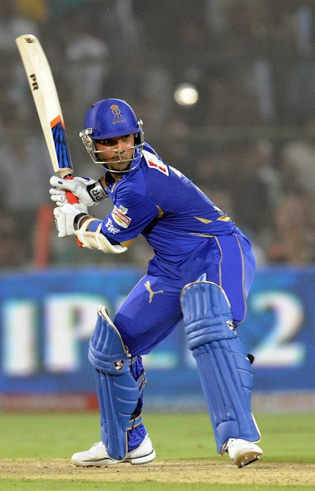 Rajasthan Royals batsman Ajinkya Rahane plays a shot during the IPL Twenty20 cricket match between Rajasthan  Royals and King XI Punjab  at The Sawai Mansingh Stadium in Jaipur on April 6, 2012. RESTRICTED TO EDITORIAL USE. MOBILE USE WITHIN NEWS PACKAGE AFP PHOTO/RAVEENDRAN (Photo credit should read RAVEENDRAN/AFP/Getty Images)