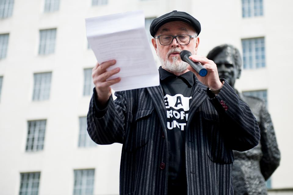 LONDON, ENGLAND - APRIL 13:  British actor Peter Joseph Egan seen talking during the The 5th Global No Market No Trade March against extinction and trophy hunting for Elephants, Rhinos, Lions and other endangered species outside Downing Street on April 13, 2019 in London, England.  (Photo by Ollie Millington/Getty Images)