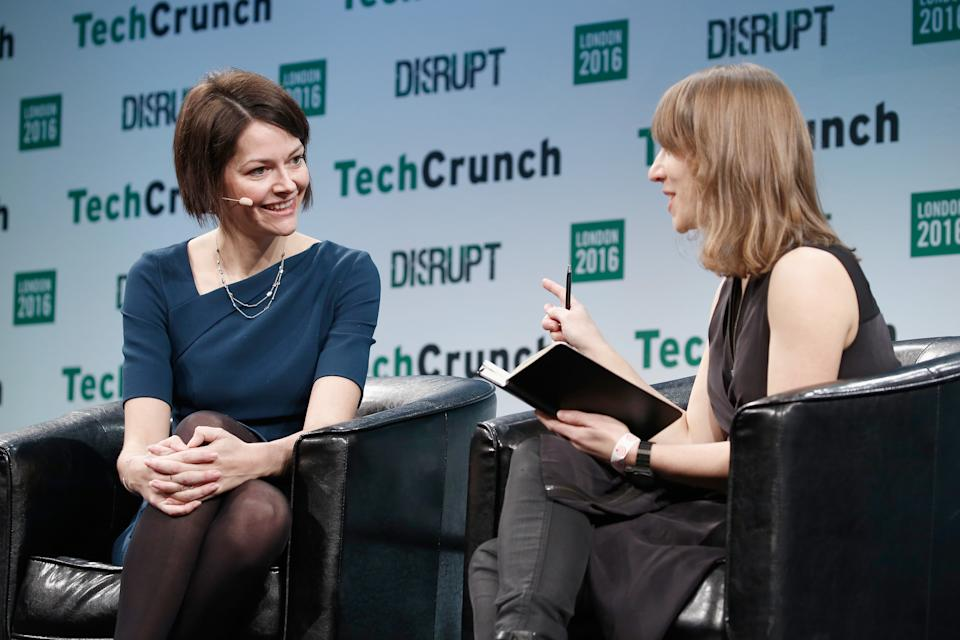 LONDON, ENGLAND - DECEMBER 05:  Co-Founder and CEO of Darktrace Poppy Gustafsson (L) attends a Q&A with TechCrunch Moderator Natasha Lomas (R) during day 1 of TechCrunch Disrupt London at the Copper Box on December 5, 2016 in London, England.  (Photo by John Phillips/Getty Images for TechCrunch)