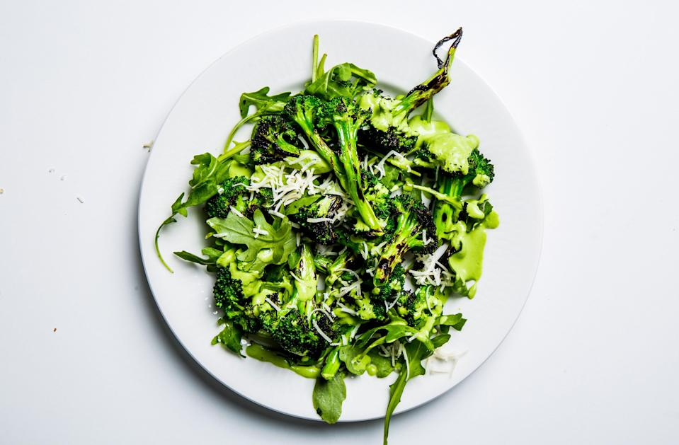 """An unexpected side dish that can be made hours ahead of a party; wait until the last minute to toss together. <a href=""""https://www.bonappetit.com/recipe/grilled-broccoli-and-arugula-salad?mbid=synd_yahoo_rss"""" rel=""""nofollow noopener"""" target=""""_blank"""" data-ylk=""""slk:See recipe."""" class=""""link rapid-noclick-resp"""">See recipe.</a>"""