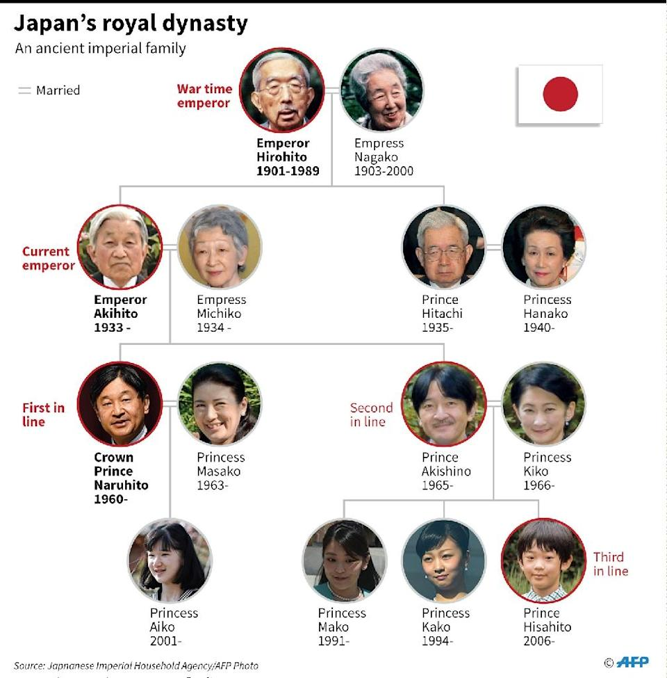 The Japanese royal family tree. (AFP Photo/AFP )