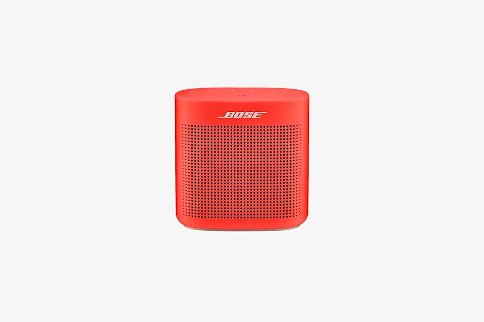 """This speaker is small enough to fit into any backpack and is water-resistant, so you don't have to worry about setting it down it too close to the pool or bathtub. It weighs about 1.2 pounds (slightly heavier than a football) and has a rechargeable battery that offers up to eight hours of playtime. Best of all, it lets the music lover in your life take their tunes with them anywhere they want to go—and just might encourage them to zone out with some spa-like music, which can help quiet your mind and relax your muscles. $129, Bose. <a href=""""https://www.bose.com/en_us/products/speakers/portable_speakers/soundlink-color-bluetooth-speaker-ii.html?"""" rel=""""nofollow noopener"""" target=""""_blank"""" data-ylk=""""slk:Get it now!"""" class=""""link rapid-noclick-resp"""">Get it now!</a>"""