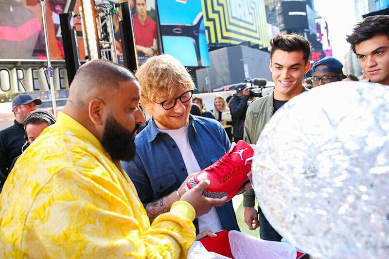 DJ Khaled, Ed Sheeran, Ethan Dalton and Grayson Dalton view Nike Air Jordan sneakers during the MTV TRL Kick-Off at Times Square on October 2, 2017 in New York City.  (MTV/TRL via Getty Images)