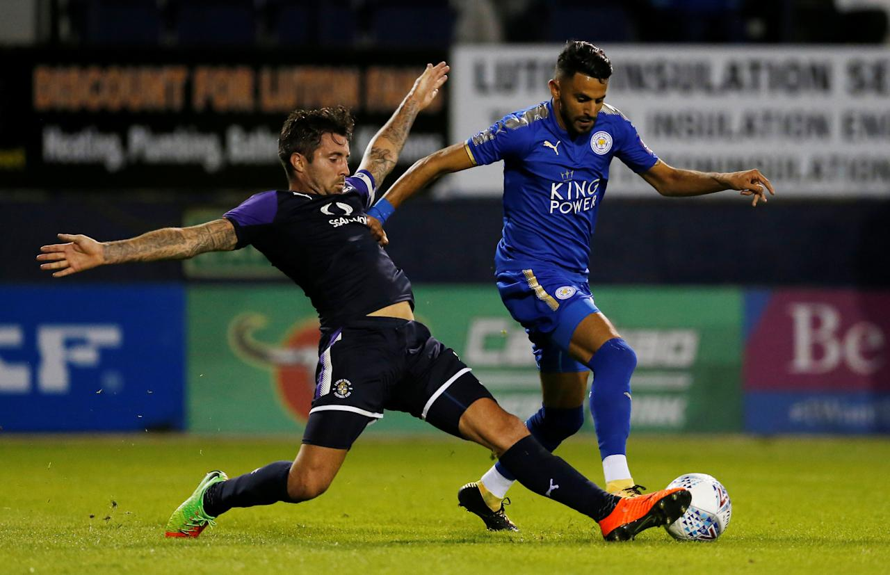 Soccer Football - Luton Town vs Leicester City - Pre Season Friendly - Luton, Britain - July 26, 2017   Leicester City's Riyad Mahrez in action with Luton Town's Alan Sheehan   Action Images via Reuters/Matthew Childs