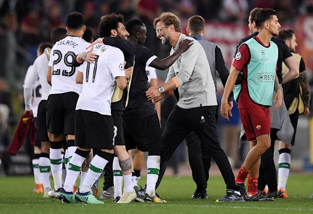 Soccer Football - Champions League Semi Final Second Leg - AS Roma v Liverpool - Stadio Olimpico, Rome, Italy - May 2, 2018 Liverpool manager Juergen Klopp celebrates with Sadio Mane after the match REUTERS/Alberto Lingria