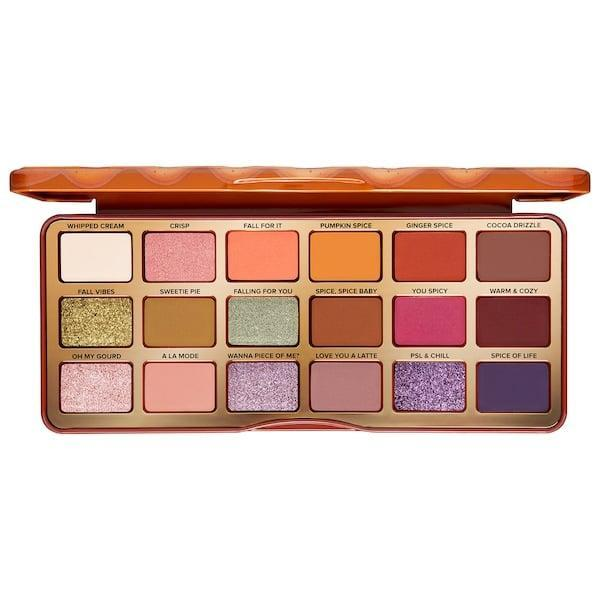 """<p>Why not add the pumpkin-pie-scented <span>Too Faced Pumpkin Spice Warm and Spicy Eye Shadow Palette</span> ($49) to your makeup collection this season? (But don't blame us if you're prompted to order a sweet treat or <a href=""""https://www.popsugar.com/beauty/pumpkin-beauty-products-sephora-47794467"""" class=""""link rapid-noclick-resp"""" rel=""""nofollow noopener"""" target=""""_blank"""" data-ylk=""""slk:pumpkin spice"""">pumpkin spice</a> latte soon after.)</p>"""