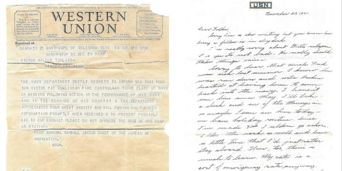 (L) A telegram from the U.S. Navy, dated Dec. 20, 1941, informed the Tumlinson family that Victor