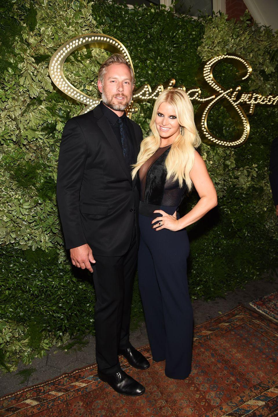 "<p>Jessica Simpson fell in love with football player Eric Johnson while he was going through a divorce in 2010. A year later, they were engaged, but the <a href=""https://people.com/celebrity/jessica-simpson-marries-eric-johnson-inside-her-wedding-ceremony/"" rel=""nofollow noopener"" target=""_blank"" data-ylk=""slk:wedding didn't happen until 2014"" class=""link rapid-noclick-resp"">wedding didn't happen until 2014</a>. Now, they're a beautiful family of five.</p>"