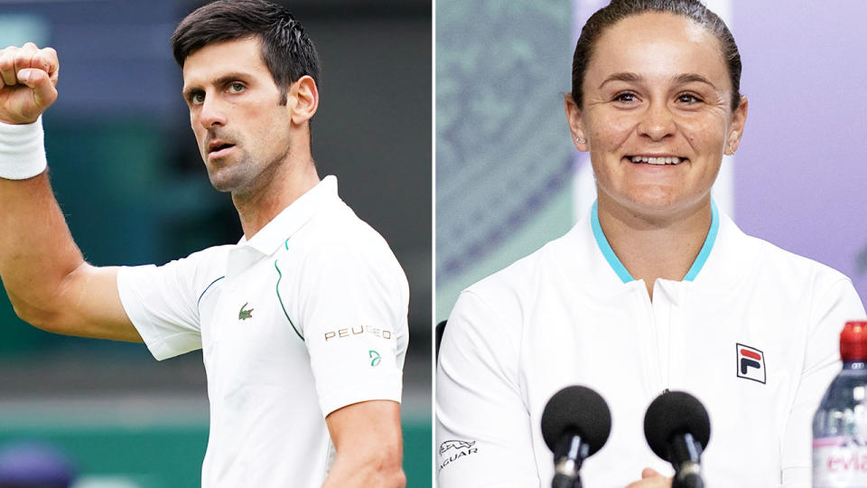 Novak Djokovic and Ash Barty, pictured here at Wimbledon.