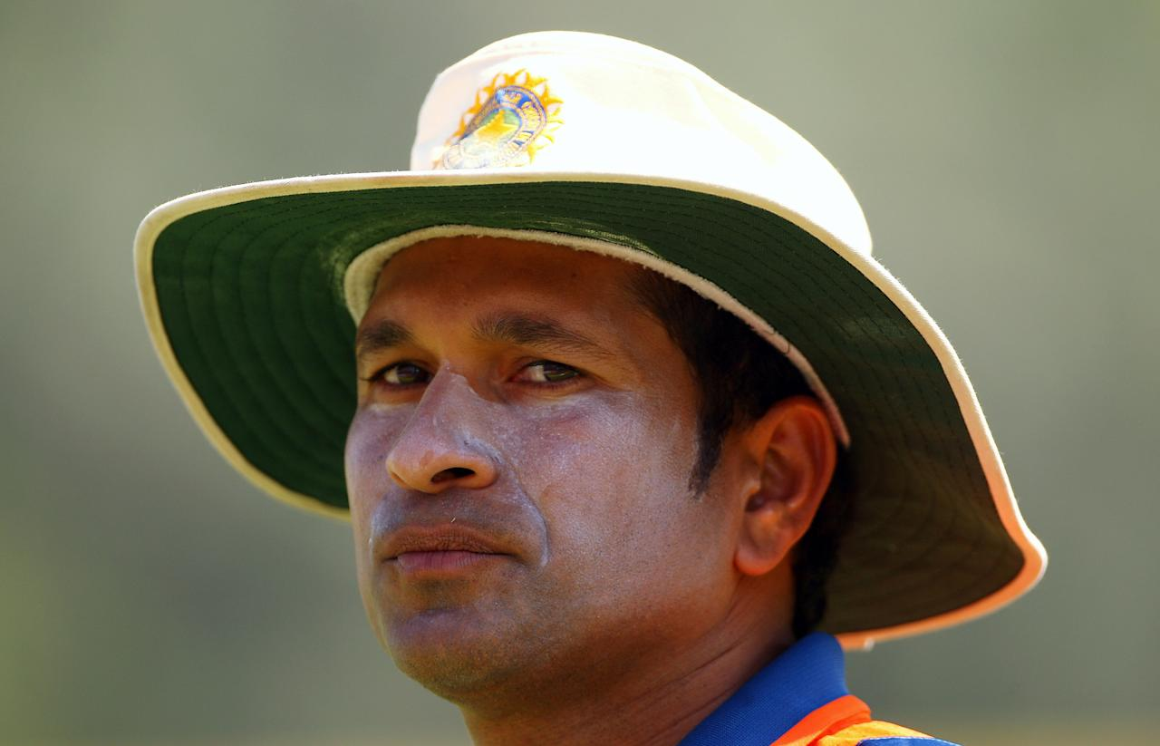 VADODARA, INDIA - OCTOBER 25:  Sachin Tendulkar of India looks on during the first One Day International match between India and Australia at Reliance Stadium on October 25, 2009 in Vadodara, India.  (Photo by Cameron Spencer/Getty Images)