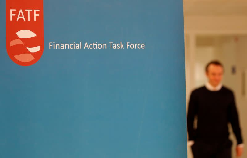 The logo of the FATF (the Financial Action Task Force) is seen during a news conference after a plenary session at the OECD Headquarters in Paris
